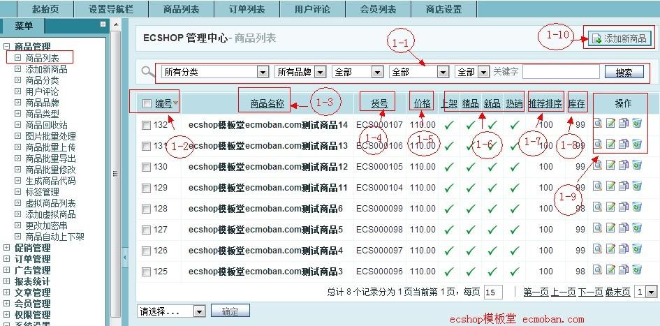 【ecshop后台详解】商品管理-商品列表